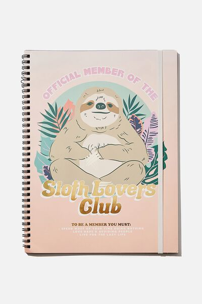 A4 Spinout Notebook Recycled, SLOTH LOVERS CLUB