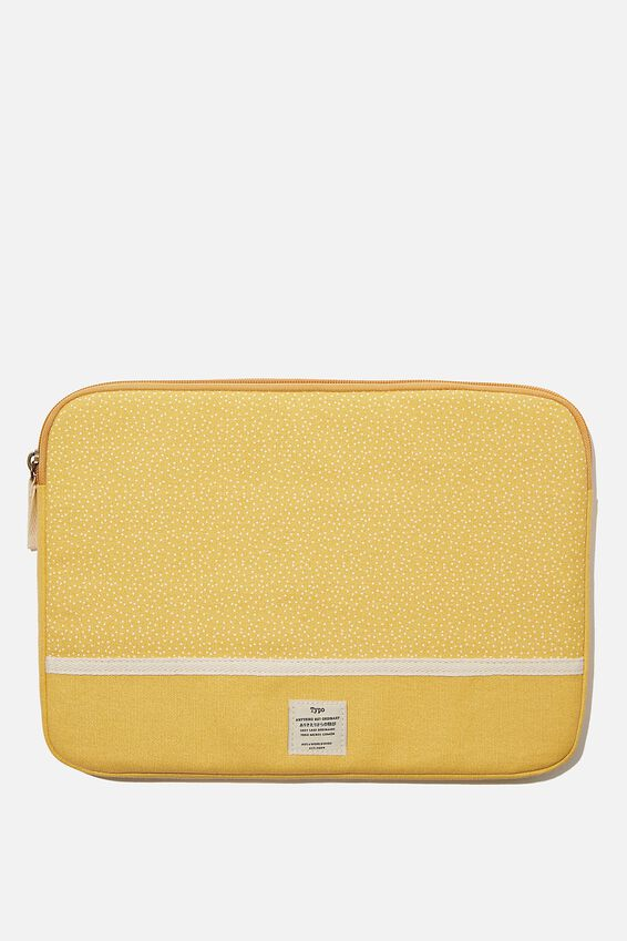 """Canvas 13"""" Laptop Case Personalised, MUSTARD MICRO SPOT"""
