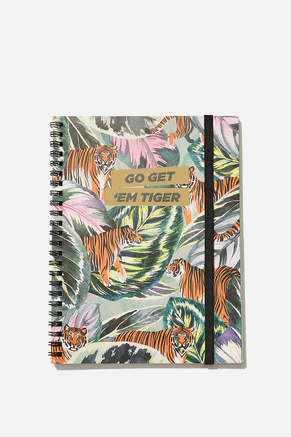 A5 Spinout Notebook Recycled, GET EM TIGER