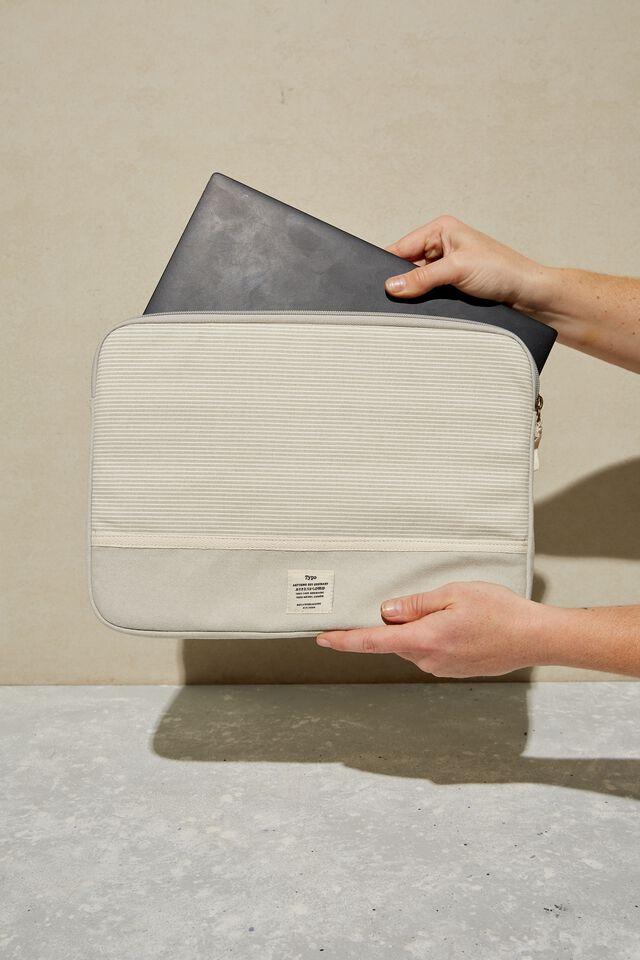 Take Me Away 13 Inch Laptop Case, LIGHT GREY NEUTRAL STRIPES