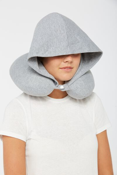 Hooded Travel Neck Pillow, GREY MARLE