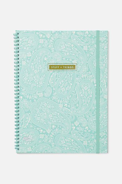 A4 Spinout Notebook - 120 Pages, AQUA LACE