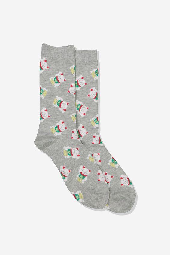 Mens Novelty Socks, LUCKY CAT