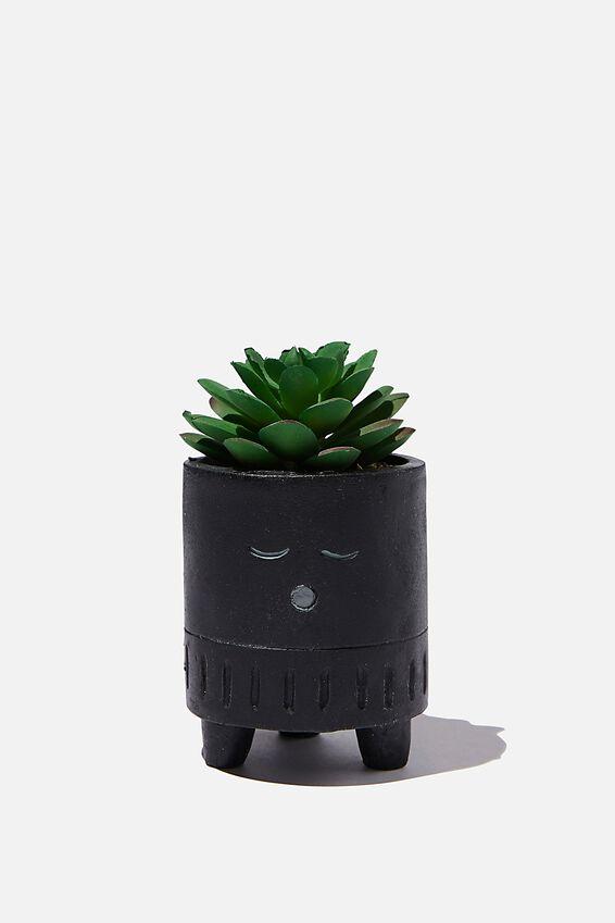 Tiny Planter With Plant, MATTE BLACK SLEEPY FACE
