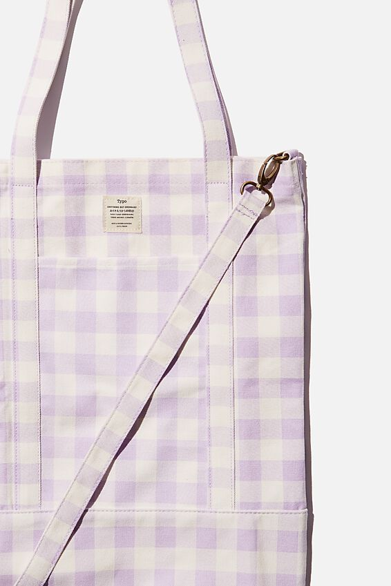 Book Tote Bag, GINGHAM PALE LILAC EXTRA LARGE