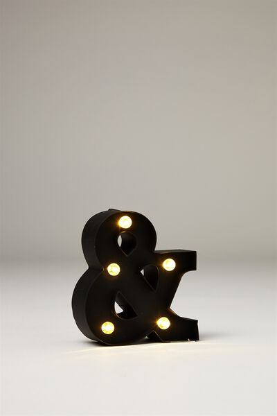 Mini Marquee Letter Lights 10cm, BLACK RUBBER AND SYMBOL