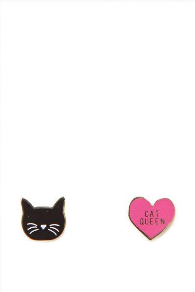 Novelty Earrings, CAT QUEEN