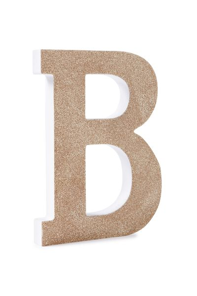Glitter Letterpress Letter, GOLD GLITTER B