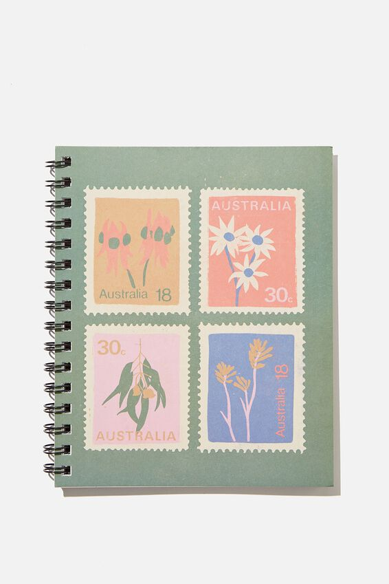 A5 Campus Notebook Recycled, RG AU FLORAL STAMPS