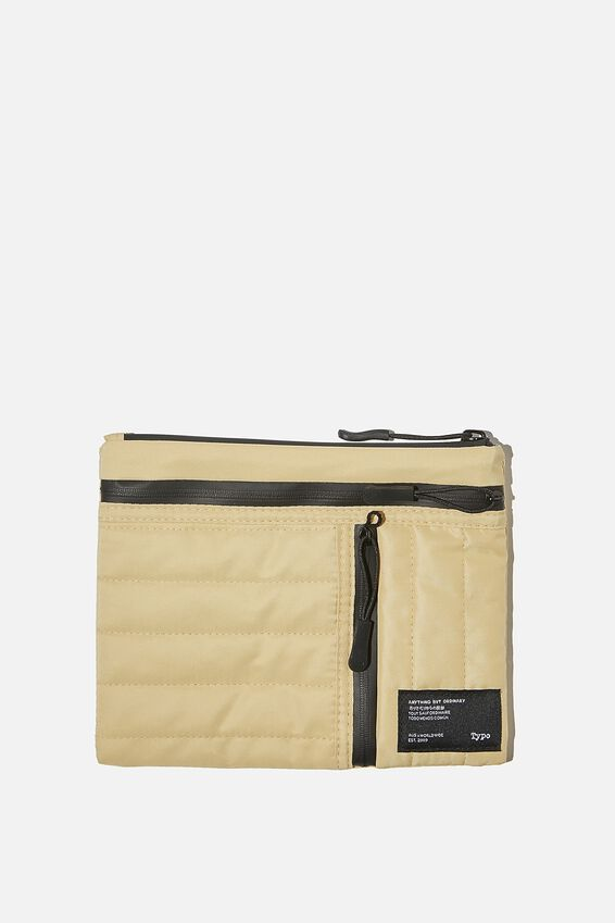 Utility Pencil Case, WASHED MUSTARD AND DUSTY BLUE