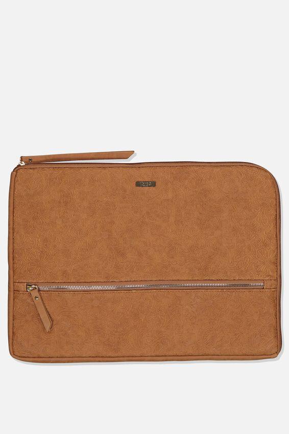 Premium Laptop Case 15 Inch, MID TAN FLORAL