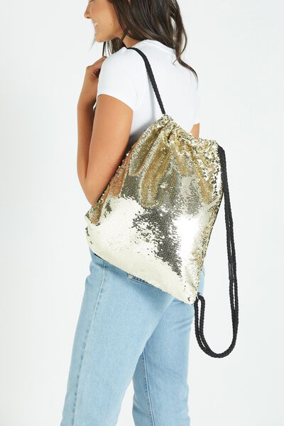 On The Go Backpack, GOLD SEQUINS