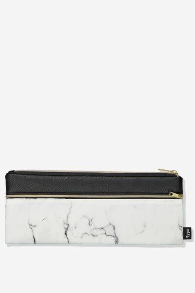 Patti Pencil Case, WHITE MARBLE