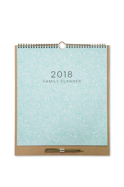 2018 Family Planner, BLUE LACE