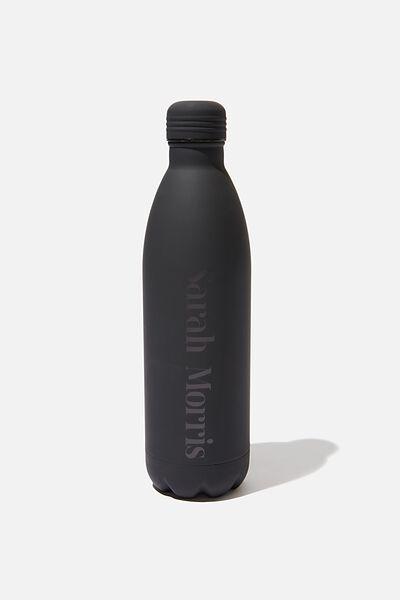 Personalised 1L Metal Drink Bottle, BLACK RUBBER