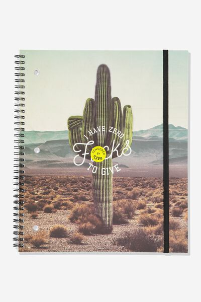 College Ruled Spinout Notebook V, ZERO F*CKS CACTUS!!