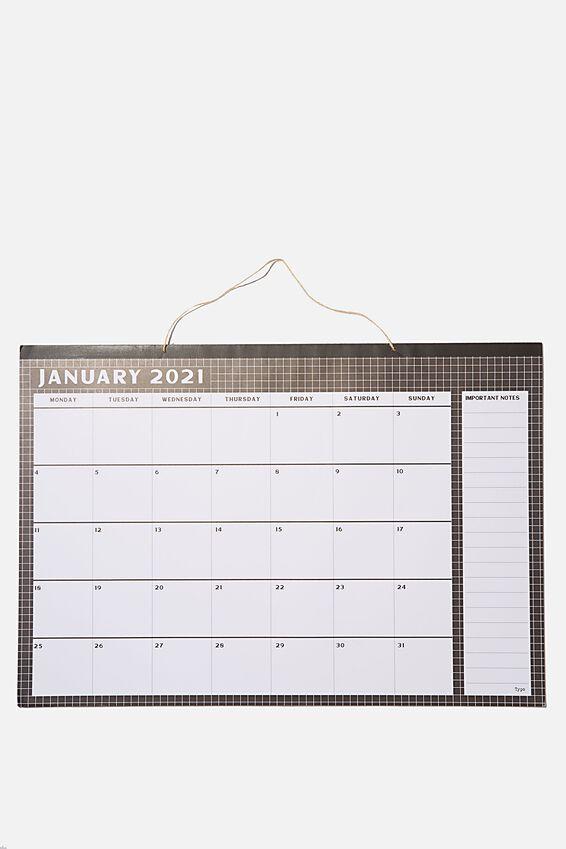 2021 A1 Hanging Calendar, BLACK GRID