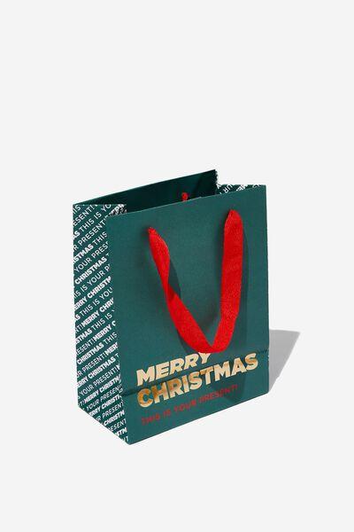 Stuff It Gift Bag - Small, GREEN MERRY CHRISTMAS