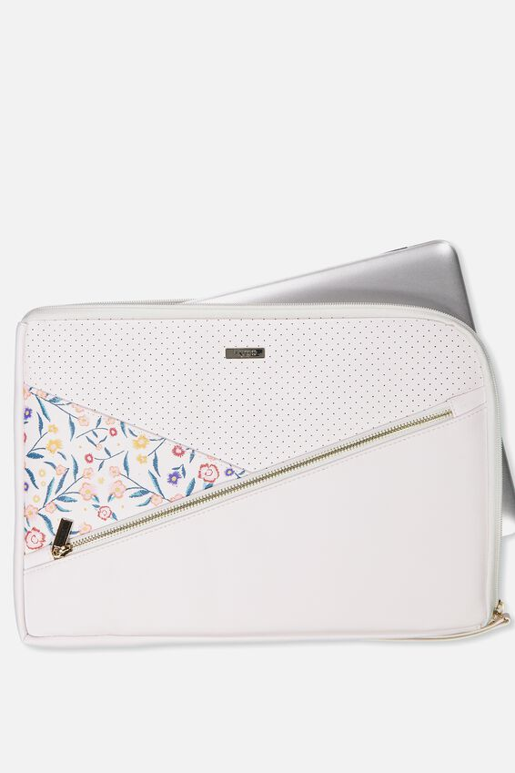 Premium Laptop Case 13 inch, WHITE & FLORAL