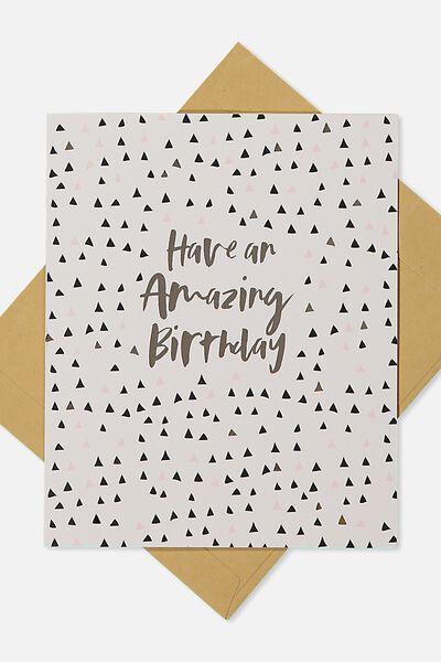 Nice Birthday Card AMAZING BIRTHDAY GOLD POLKA