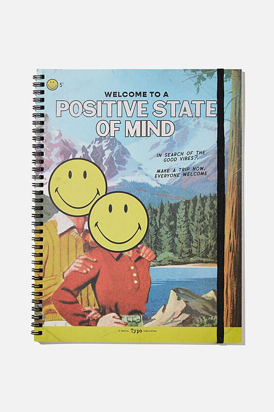 A4 Smiley Spinout Notebook Recycled, LCN SMI VINTAGE POSITIVE STATE OF MIND