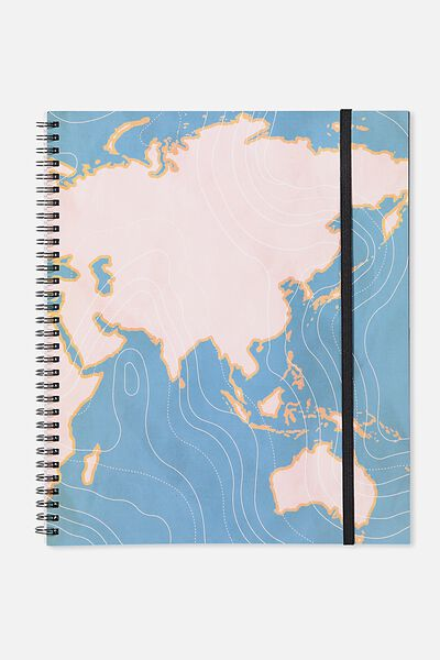 College Ruled Spinout Notebook V, GREEN MAP CURVES