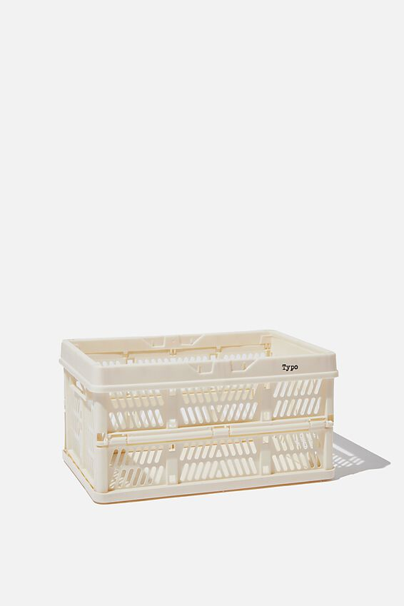 Small Foldable Storage Crate, ECRU