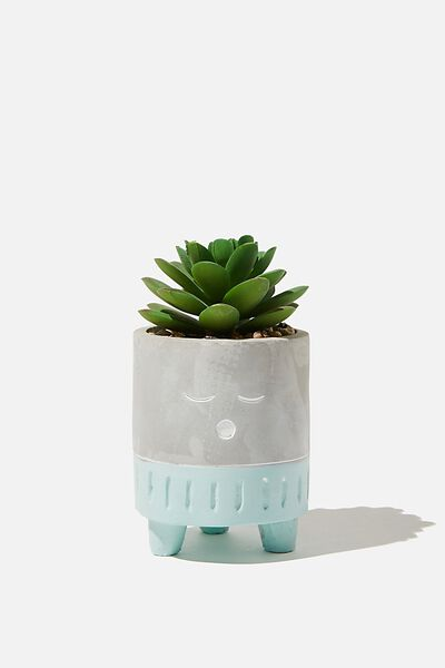 Tiny Planter With Plant, CEMENT & BLUE SLEEPY FACE