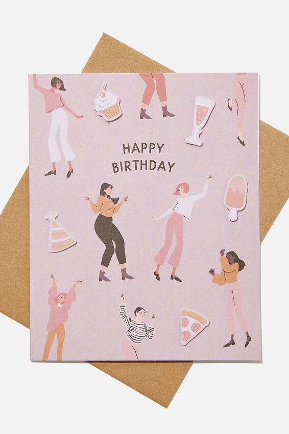Premium Funny Birthday Card, EMBELLISHED DANCING BIRTHDAY