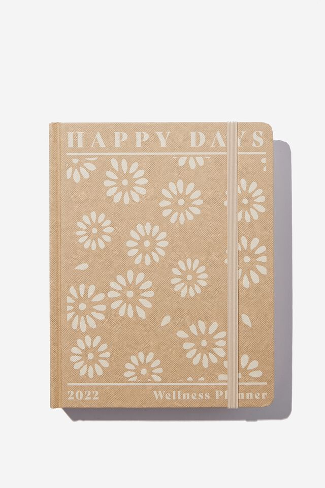 2022 Small Daily Wellness Planner, STAMPED DAISY DRIFTWOOD