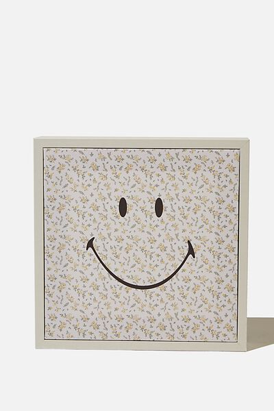 24 X 24 Mini Canvas Art, LCN SMI SMILEY FLORAL