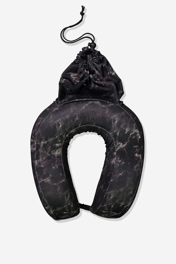 Foam Travel Neck Pillow, BLACK MARBLE
