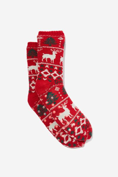 Slounge Around Slipper Sock, RUDE REINDEER!