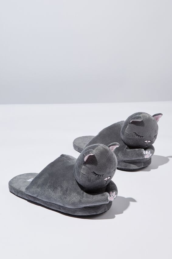 Novelty Slippers, GREY CATS