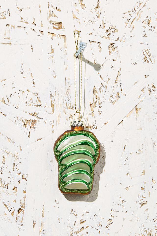 Small Glass Christmas Ornament, AVO ON TOAST