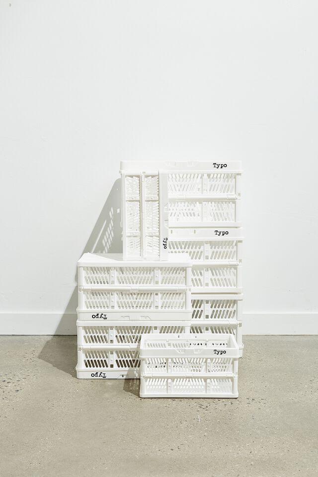 Large Foldable Storage Crate, WHITE