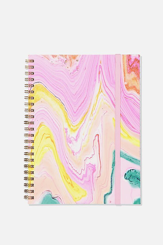 Small Spinout Notebook - V, PINK MARBLE GLITTER
