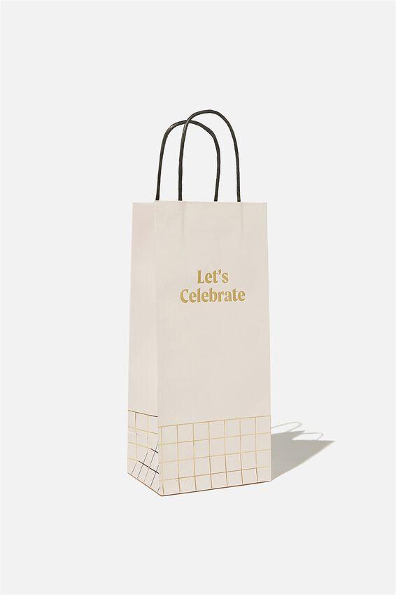 Bottle Gift Bag, LETS CELEBRATE ECRU
