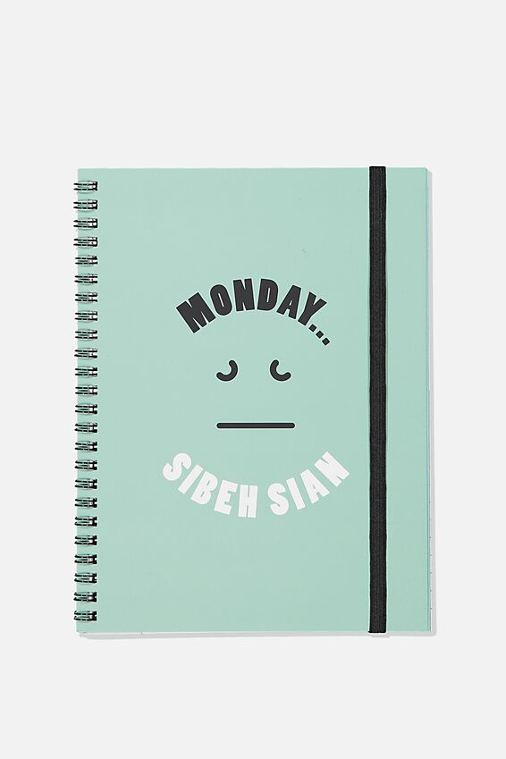 A5 Spinout Notebook Recycled, MONDAY