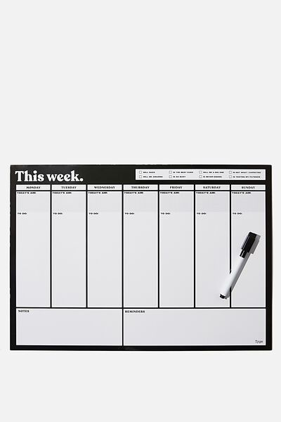 A3 Extra Large Magnetic Planner, BLACK THIS WEEK