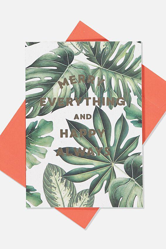 Christmas Card, MONSTERA MERRY EVERYTHING