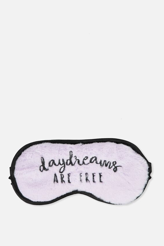 Premium Sleep Eye Mask, DAY DREAMS LILAC FAUX FUR