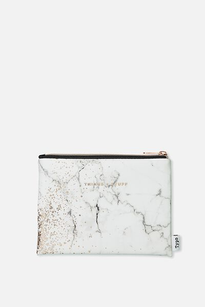 Pu Campus Pencil Case, MARBLE STUFF