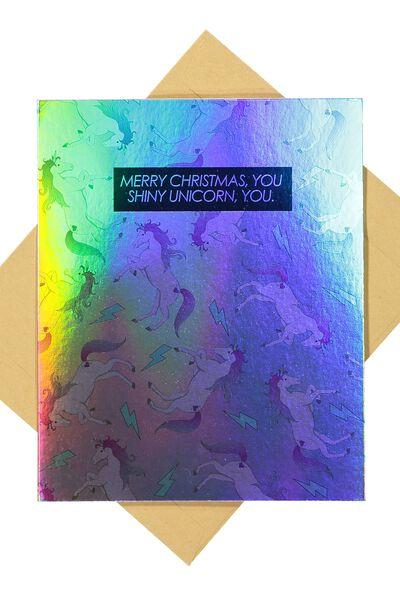 Christmas Cards 2017, HOLOGRAPHIC SHINY UNICORN