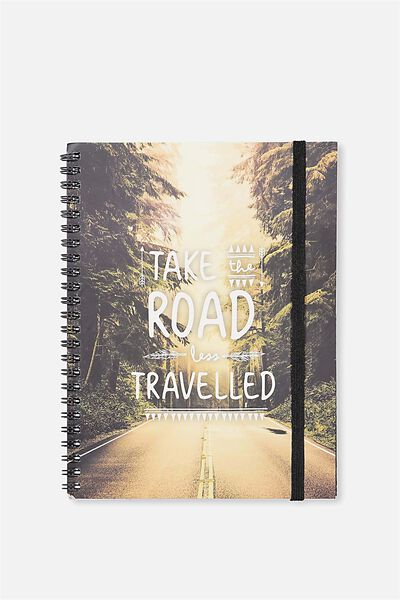 Small Spinout Notebook Usa 8X6, ROAD LESS TRAVELLED