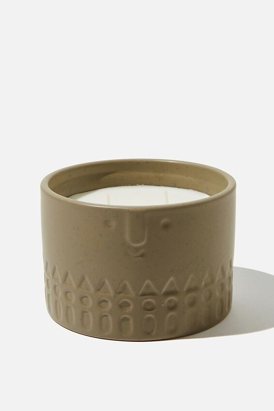 Ceramic Face Candle, KHAKI