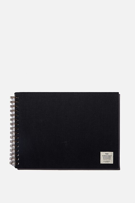 A4 Spiral Sketch Book, BLACK