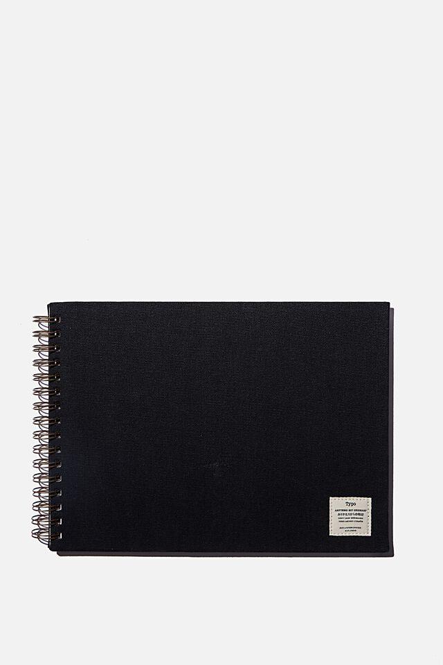 A4 Spiral Sketch Book, BLACK