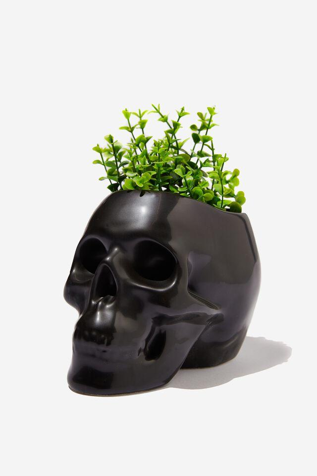 Shaped Planter, MATTE BLACK SKULL!