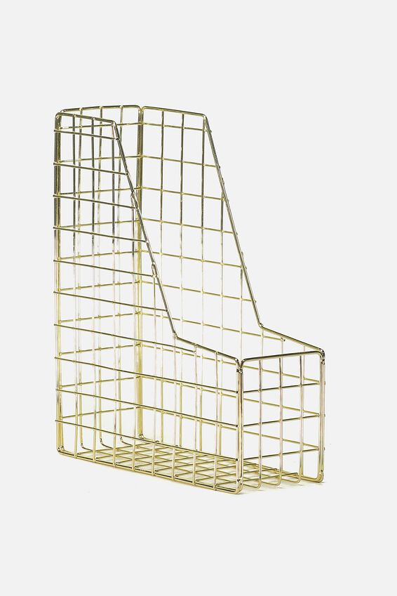 Metal Magazine Holder, GOLD WIRE